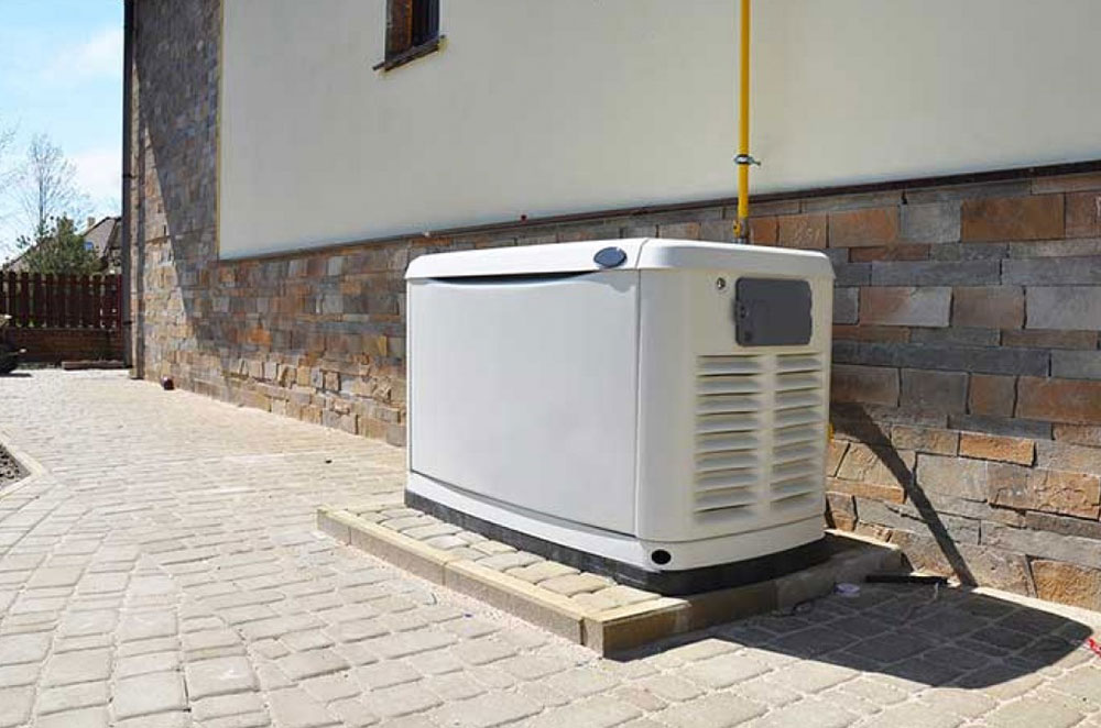 a white outdoor electrical generator